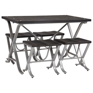 Wood and Metal 5-Piece Rectangular Dining Room Table Set with Stools