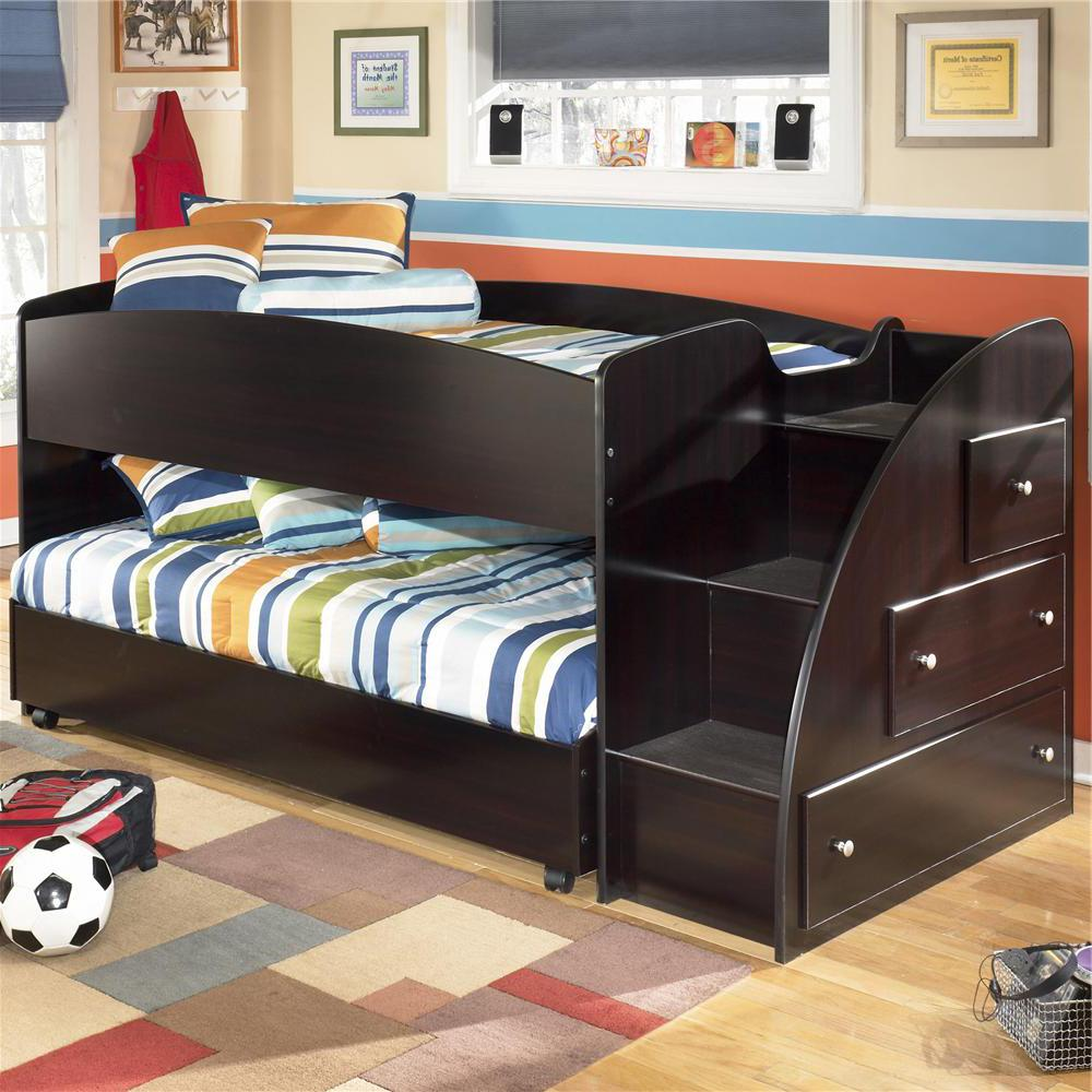 Twin Loft Bed With Caster Bed And Right Storage Steps By Signature Design By Ashley Wolf And