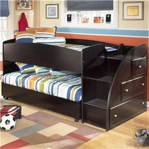 Signature Design by Ashley Embrace Twin Loft Bed with Storage Steps