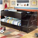 Signature Design by Ashley Embrace Twin Loft Bed with Storage Steps - Item Number: B239-68B+T+13R