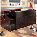 Signature Design by Ashley Embrace Twin Loft Bed with Chest Storage - Item Number: B239-68T+13L+2x19