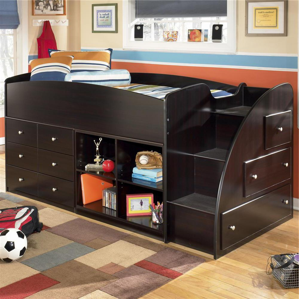 Twin Loft Bed With Right Storage Steps Bookcase Amp Chest By Signature Design By Ashley Wolf
