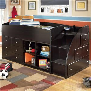 Signature Design by Ashley Furniture Embrace Twin Loft Bed with Bookcase & Chest Storage