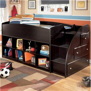 Signature Design by Ashley Embrace Twin Loft Bed with Bookcase Storage