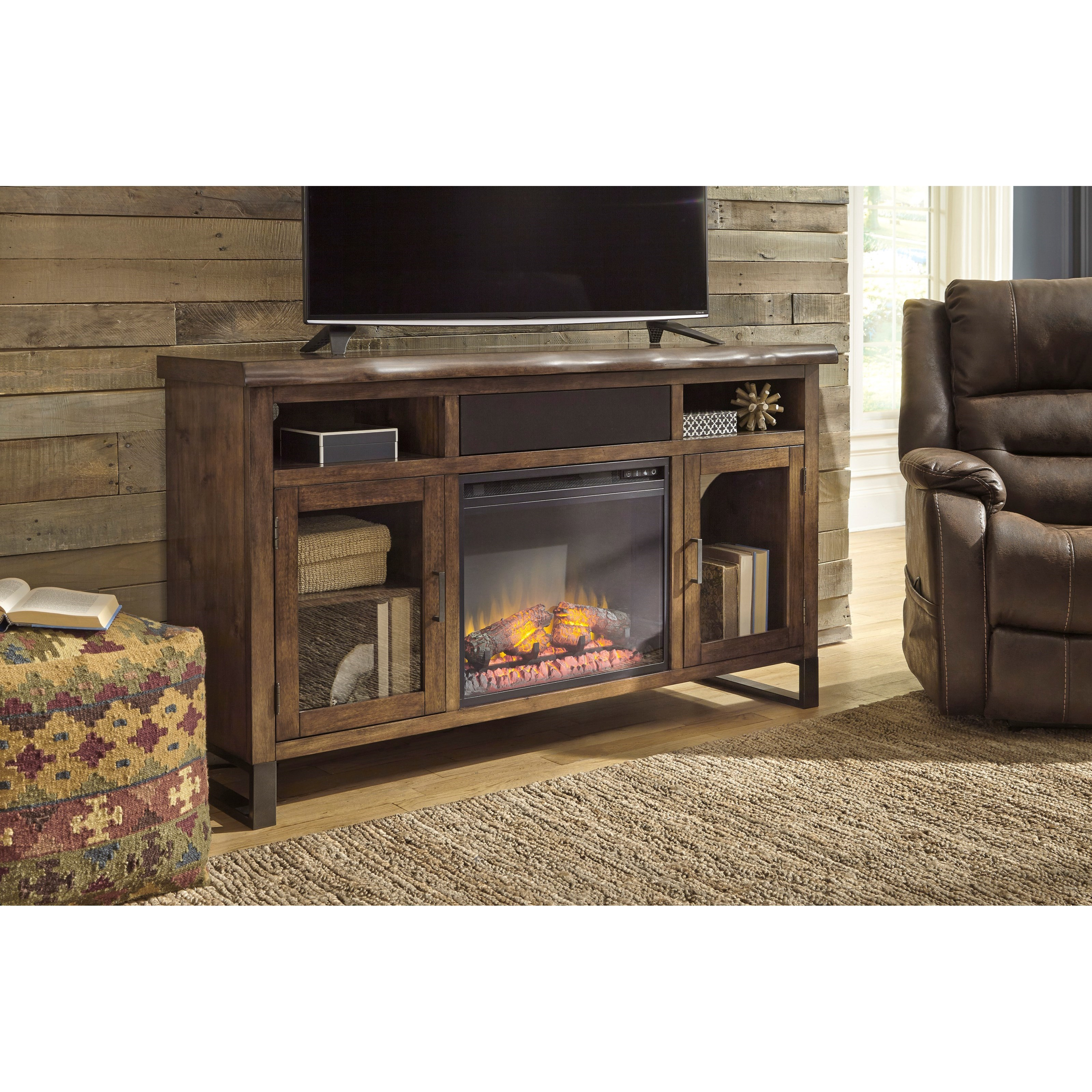 Large TV Stand w/ Fireplace Insert, Bluetooth Speaker, & Faux Live ...