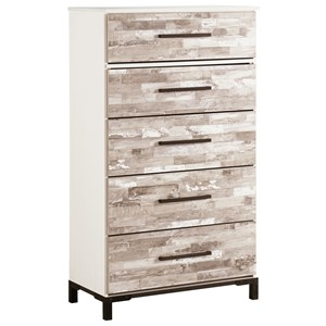 Rustic Gray/White Five Drawer Chest with Metal Feet