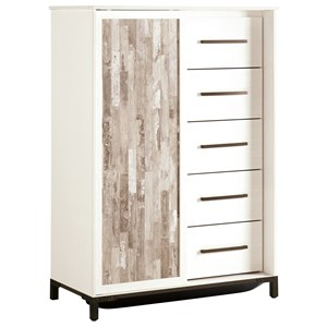 Rustic Gray/White Dressing Chest with Sliding Door