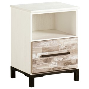 Rustic Gray/White One Drawer Night Stand with USB Chargers