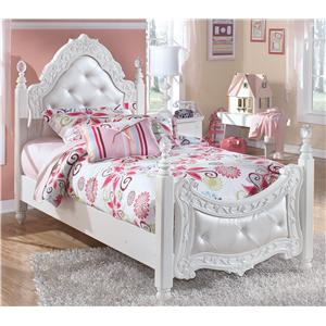 Twin Ornate Poster Bed with Tufted Headboard & Footboard