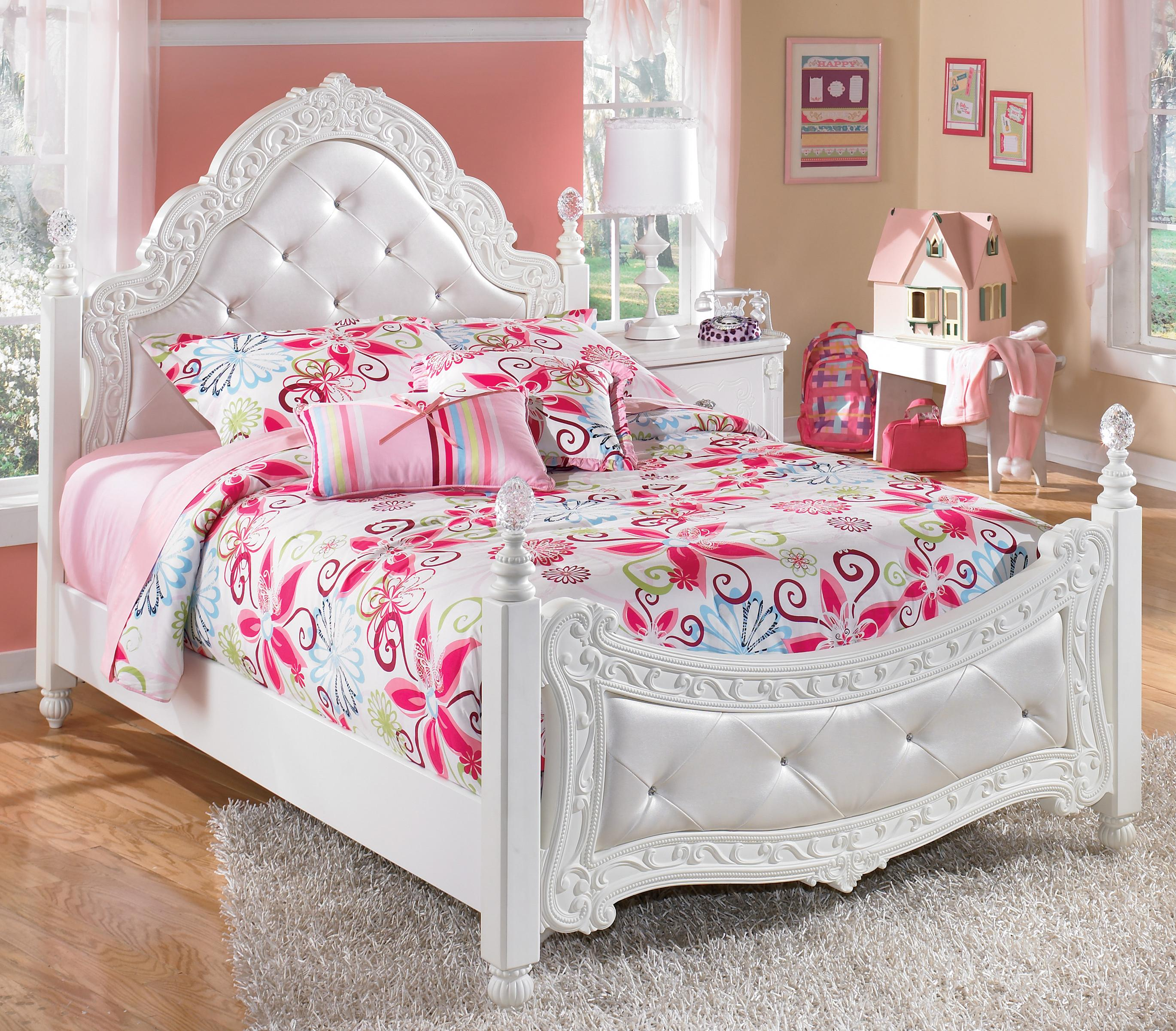 Full ornate poster bed with tufted headboard footboard - White bedroom furniture for girl ...
