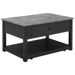 Lift Top Cocktail Table with Faux Marble Top