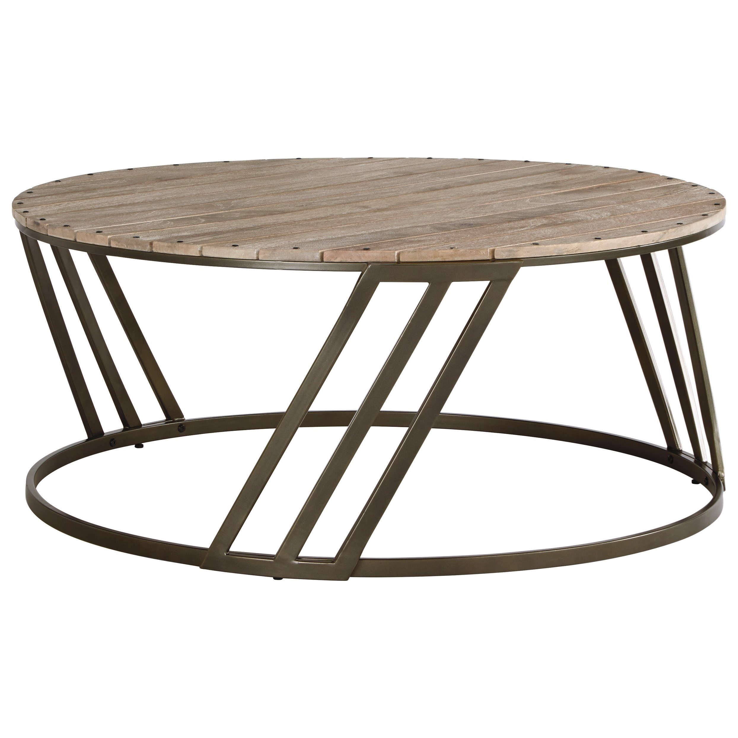 Relaxed Vintage Round Cocktail Table with Plank Top by Signature