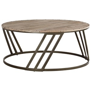 Relaxed Vintage Round Cocktail Table with Plank Top