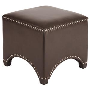 Faux Leather Square Accent Ottoman with Arched Cuouts & Nailhead Trim