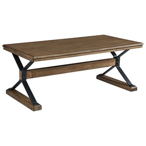 Wood and Metal Rectangular Cocktail Table with Trestle Base