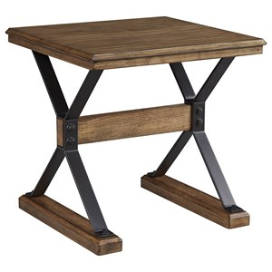 Wood and Metal Square End Table with Trestle Base