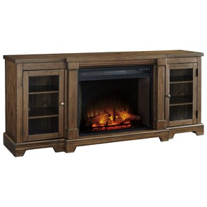 Breakfront Extra Large TV Stand with Fireplace Insert