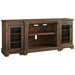 Breakfront Extra Large TV Stand with Glass Doors