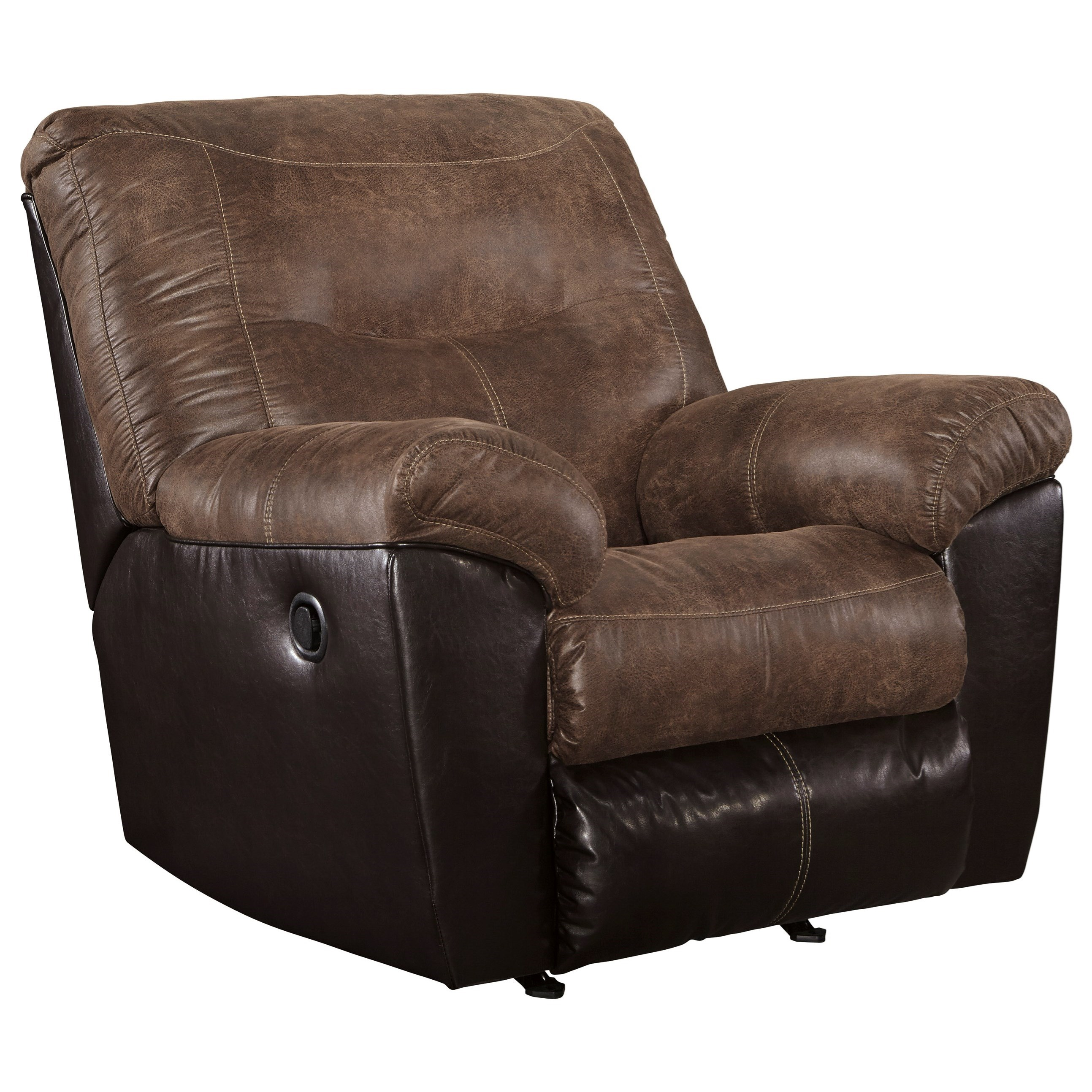 Two Tone Faux Leather Rocker Recliner