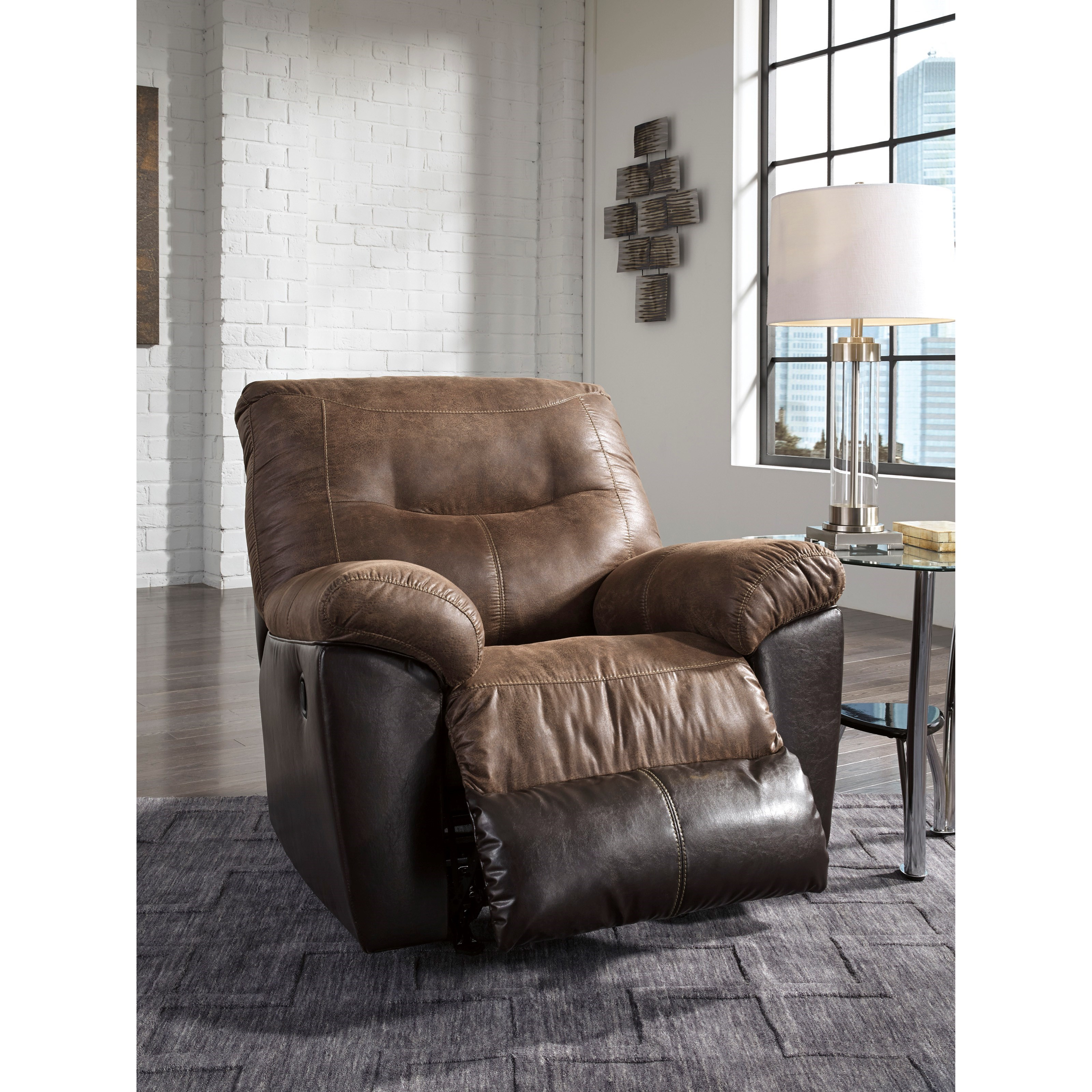 Ashley Furniture Recliners: Two-Tone Faux Leather Rocker Recliner By Signature Design