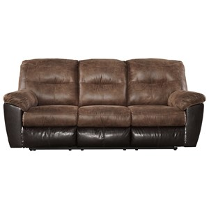 Two-Tone Faux Leather Reclining Sofa