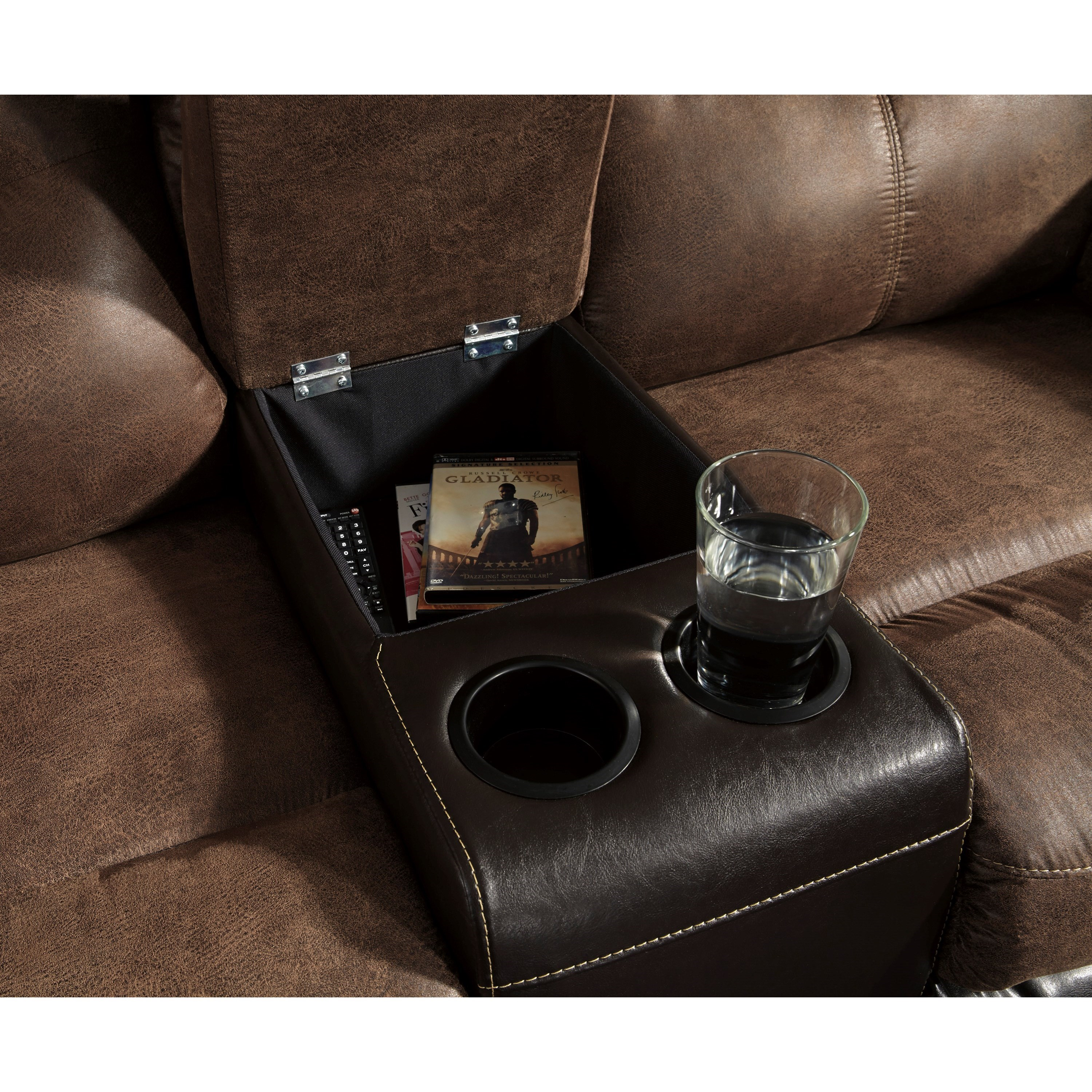 reclining alzena open gallery design signature recliner media console by loveseat with double ashley