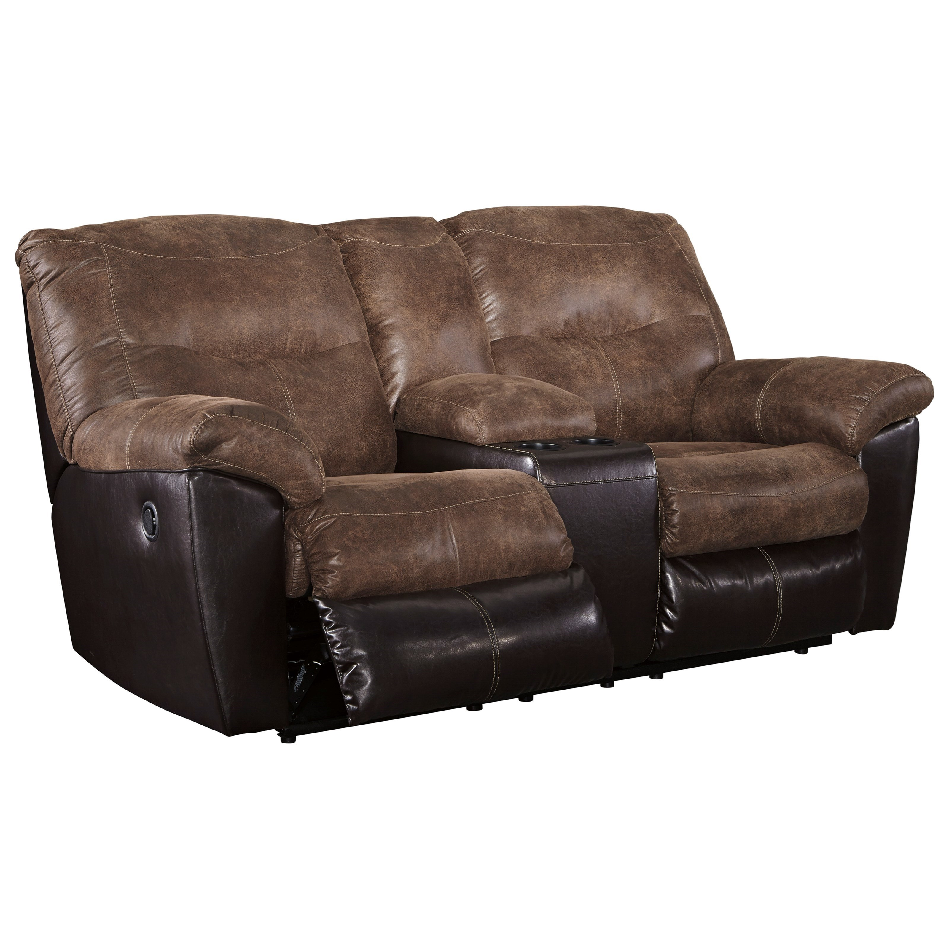Two Tone Faux Leather Double Reclining Loveseat W/ Console
