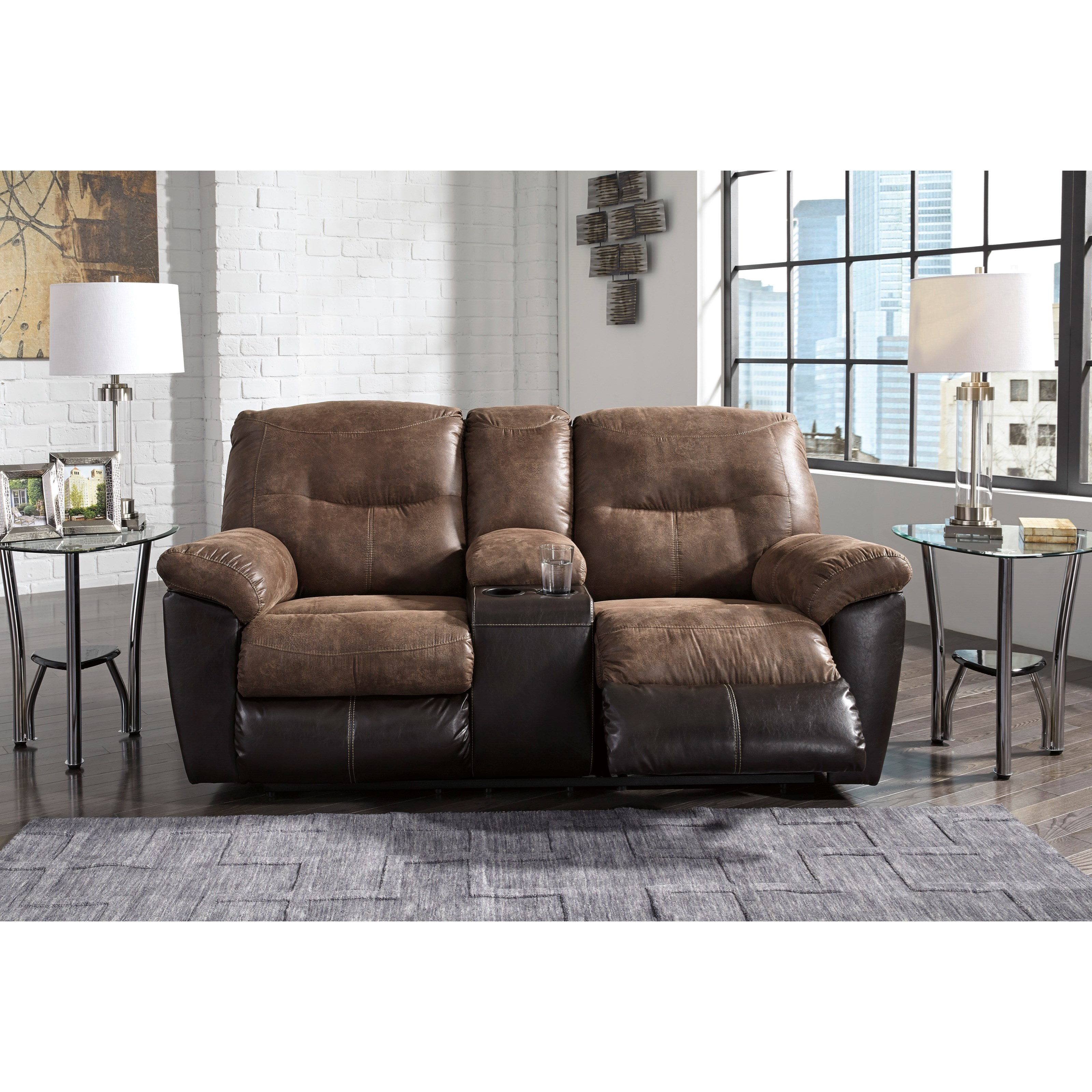 Two-Tone Faux Leather Double Reclining Loveseat w/ Console  sc 1 st  Wolf Furniture & Two-Tone Faux Leather Double Reclining Loveseat w/ Console by ... islam-shia.org