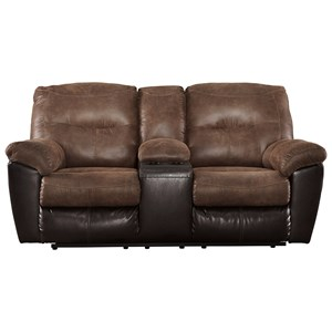 Two-Tone Faux Leather Double Reclining Loveseat w/ Console