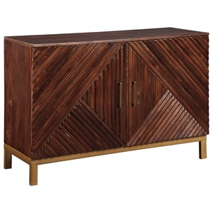 Geometric Overlay Accent Cabinet with Brass Accents