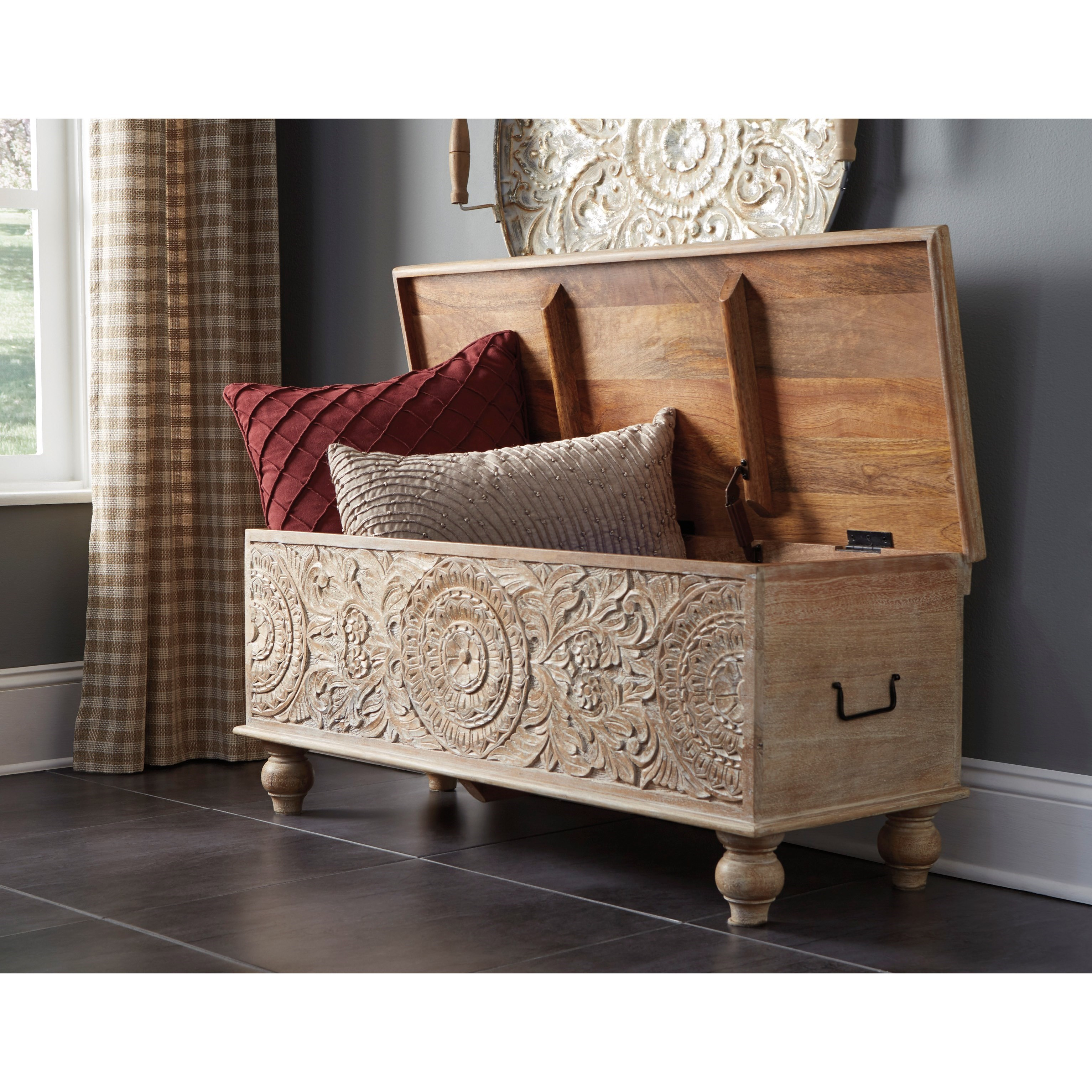 Stupendous Solid Wood Accent Storage Bench By Signature Design By Dailytribune Chair Design For Home Dailytribuneorg