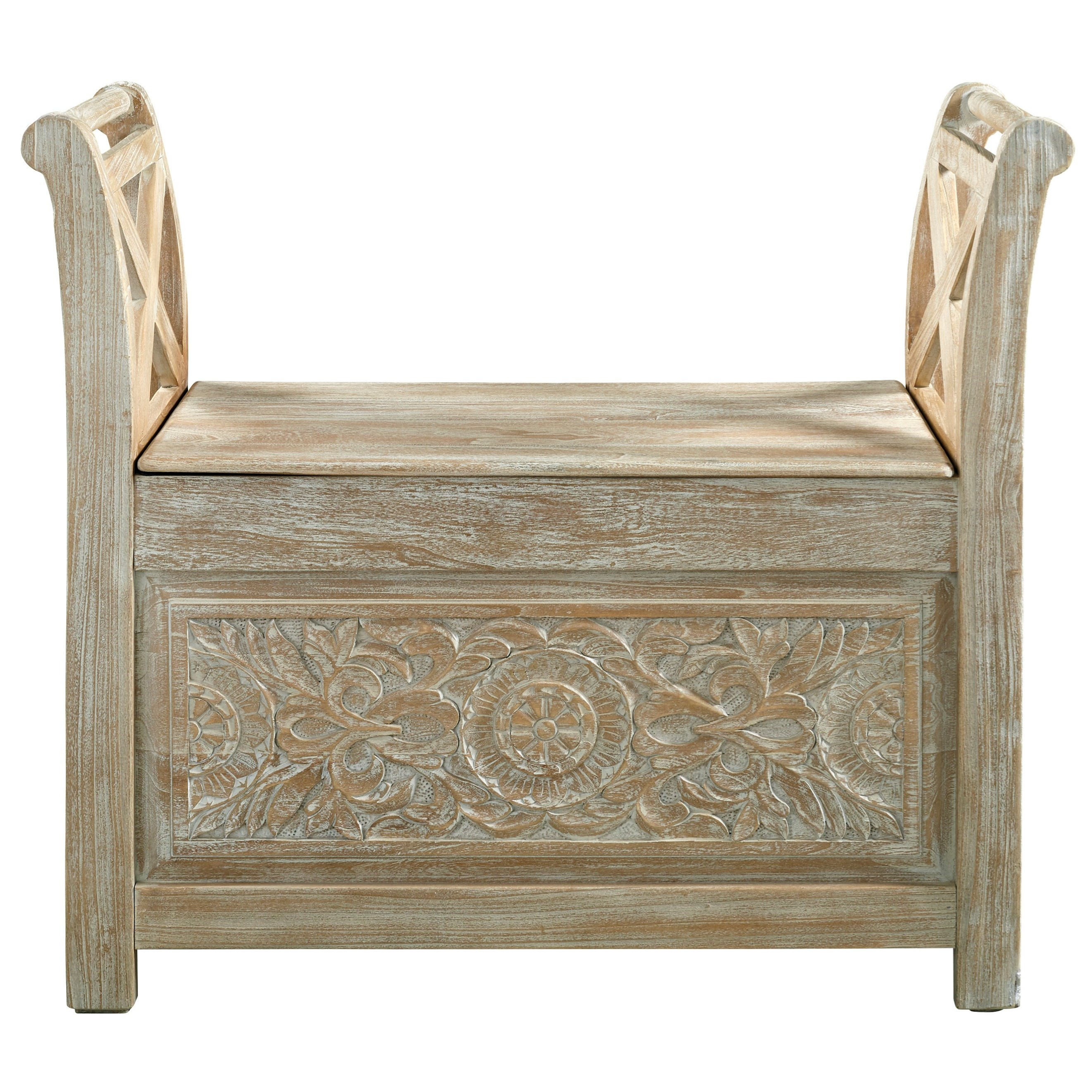 Storage Accent Bench with Carved Floral Details