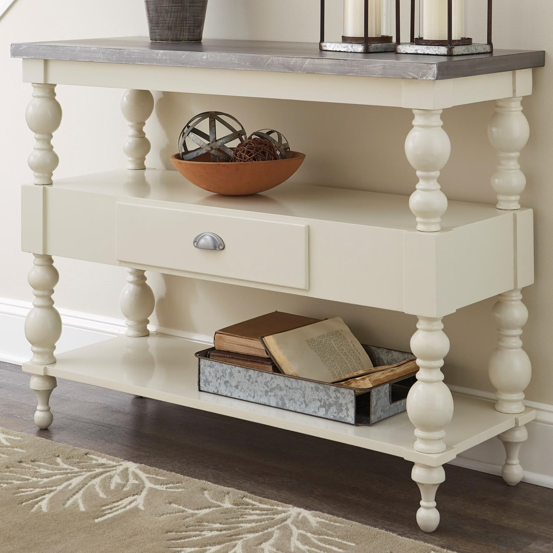 Transitional Sofa Table With Metal Table Top By Signature Design  ~ Transitional Sofa Tables