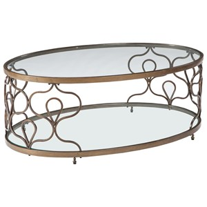 Glass Top Oval Cocktail Table in Bronze Finish