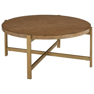 Contemporary Round Cocktail Table with Metal Base