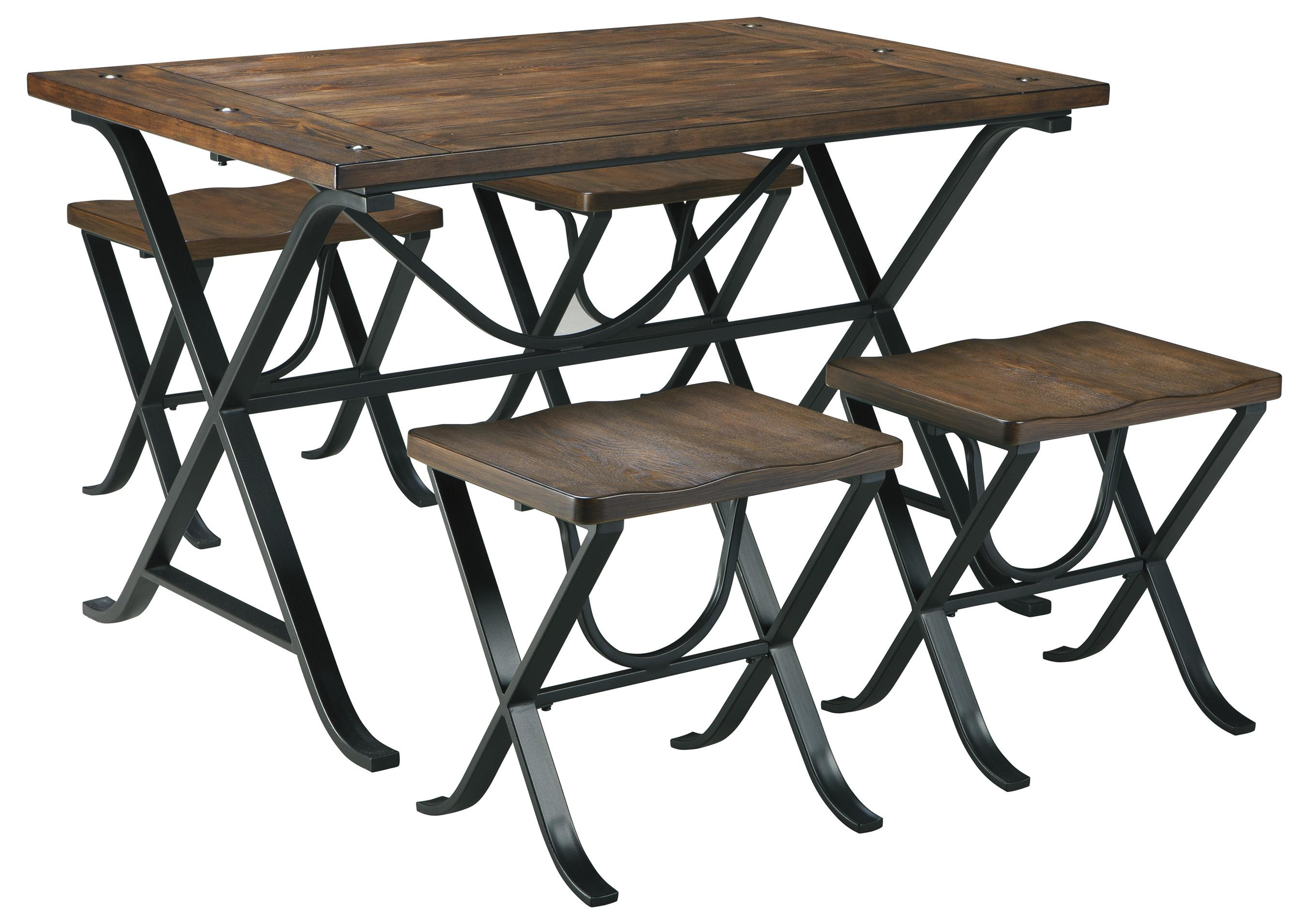 Industrial style rectangular dining room table set by for Breakfast table set with stools