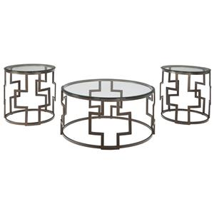 Contemporary Bronze Tone Metal Drum Style Occasional Table Set with Glass Tops
