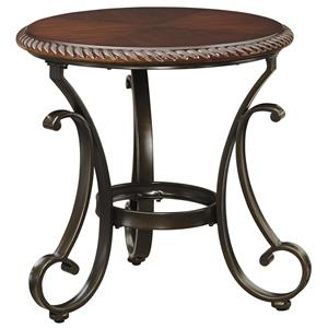 Round End Table with Cherry Finish Top and Metal Base