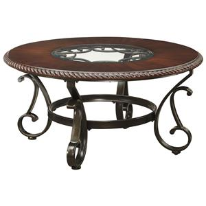 Round Cocktail Table with Glass Insert Top and Metal Base