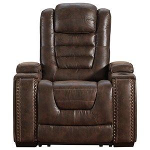 Faux Leather Power Recliner with Adjustable Headrest