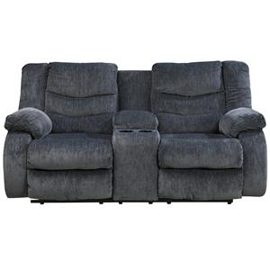 Signature Design by Ashley Furniture Garek - Blue Double Reclining Loveseat w/ Console
