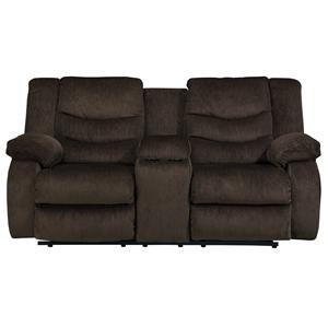 Signature Design by Ashley Garek - Cocoa Double Reclining Loveseat w/ Console