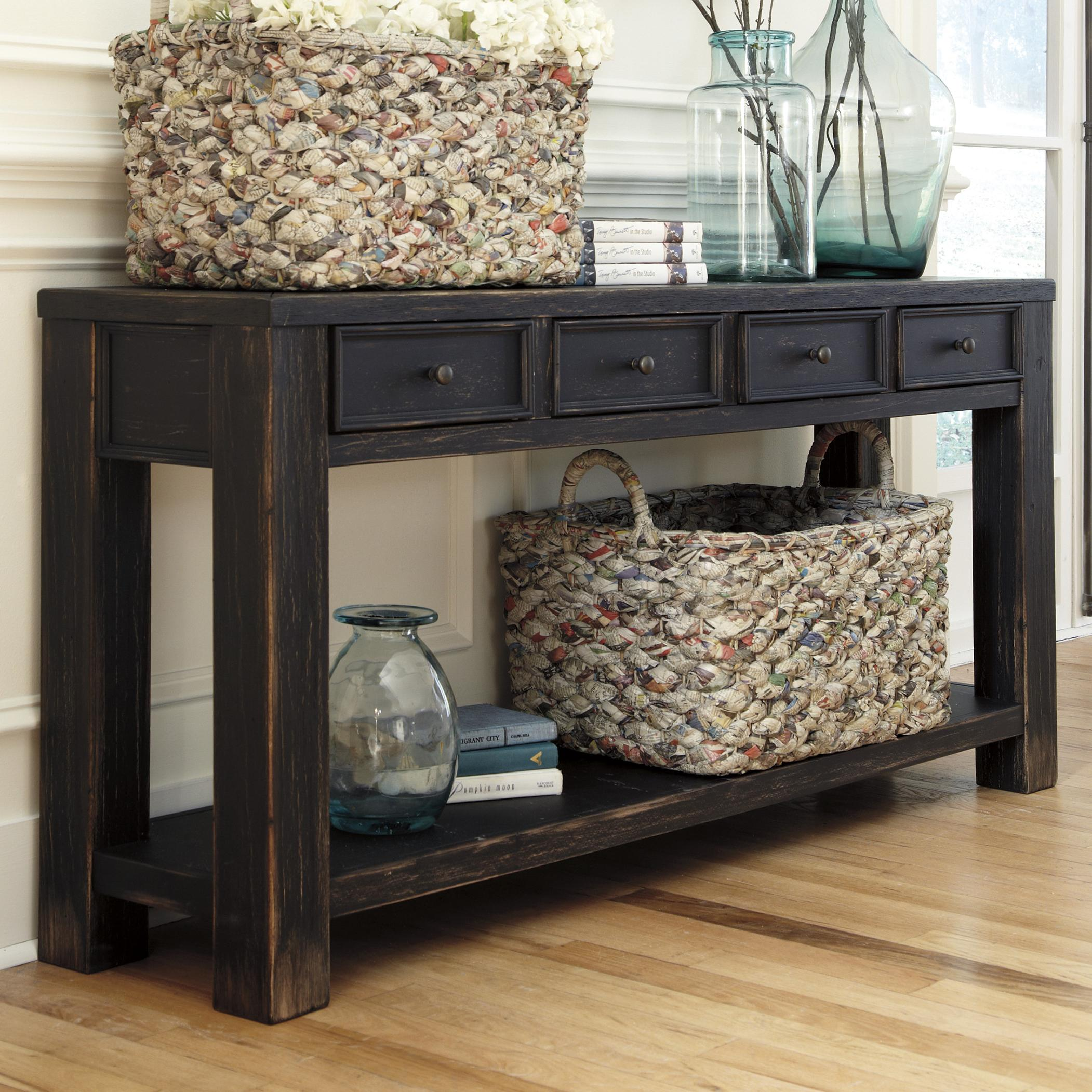 Perfect Distressed Black Sofa Table With 4 Drawers U0026 Shelf