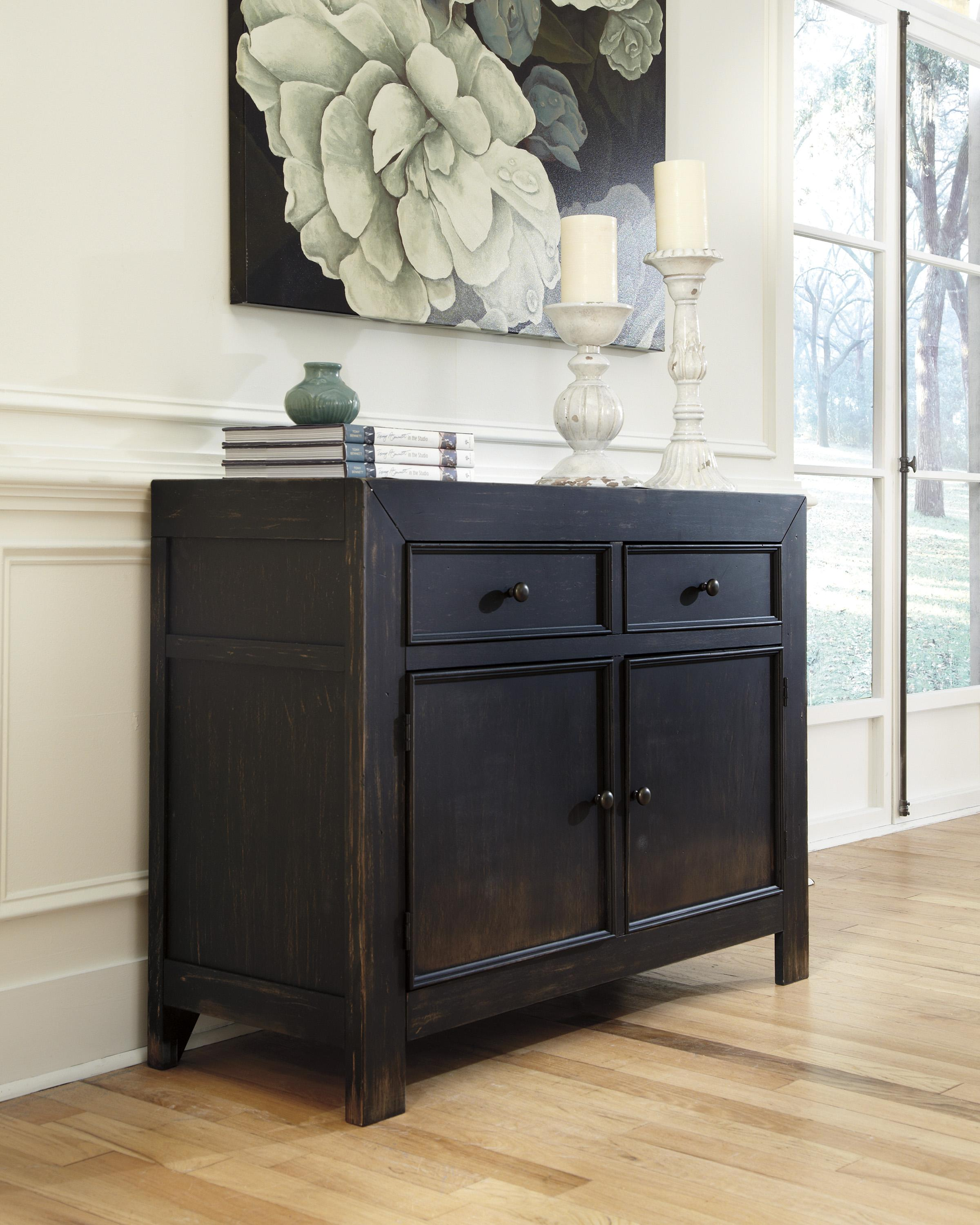 Distressed Black Accent Cabinet
