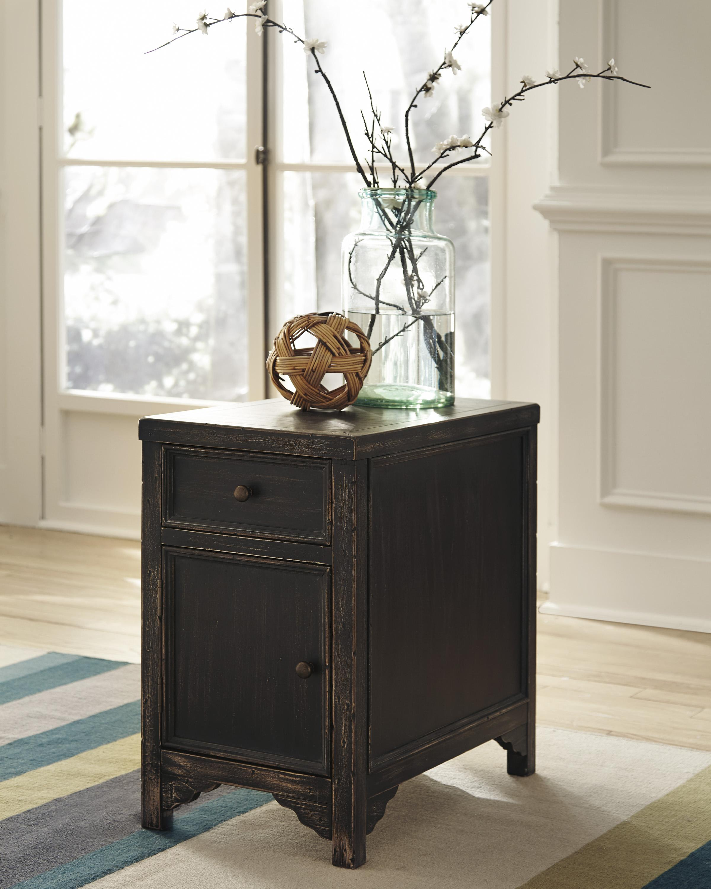 Designer Accent Tables: Distressed Chair Side End Table Accent Cabinet By