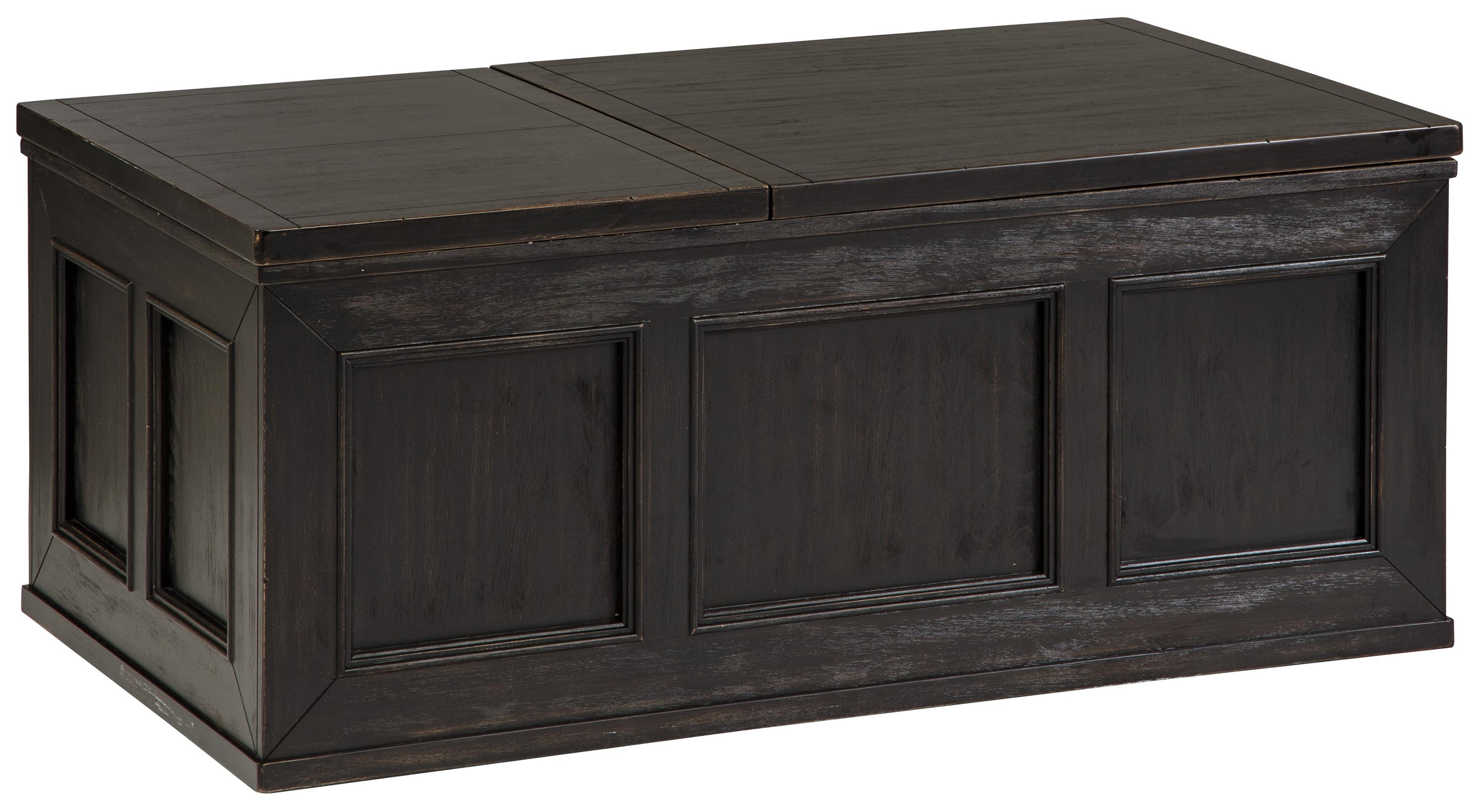 Rustic Distressed Black Trunk Style Lift Top Cocktail Table W Casters By Signature Design By