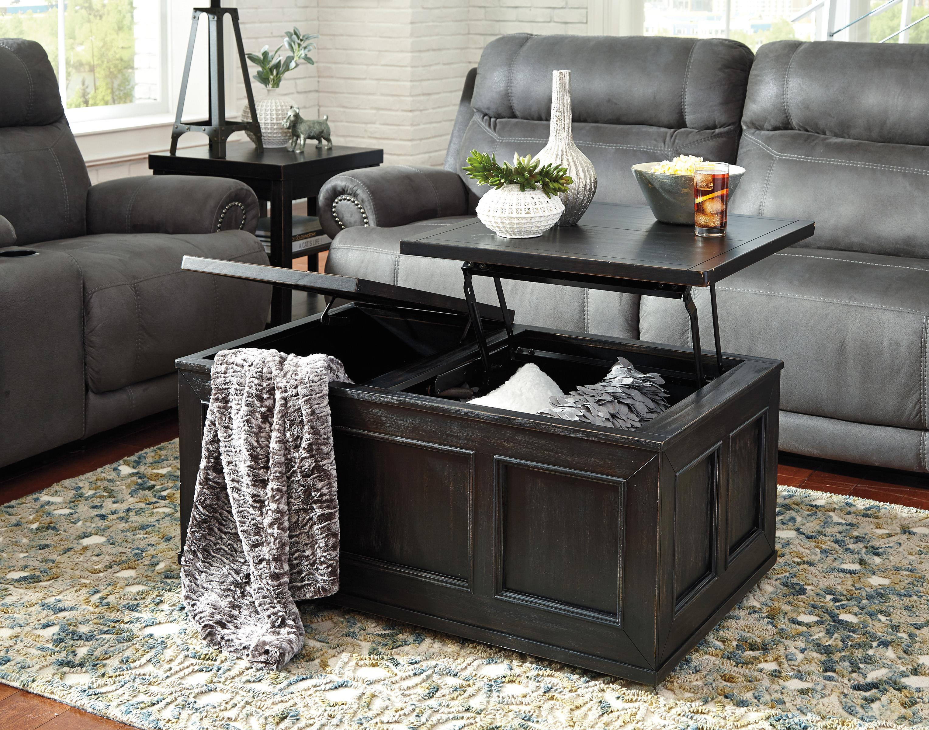 Rustic Distressed Black Trunk Style Lift Top Cocktail Table W/ Casters