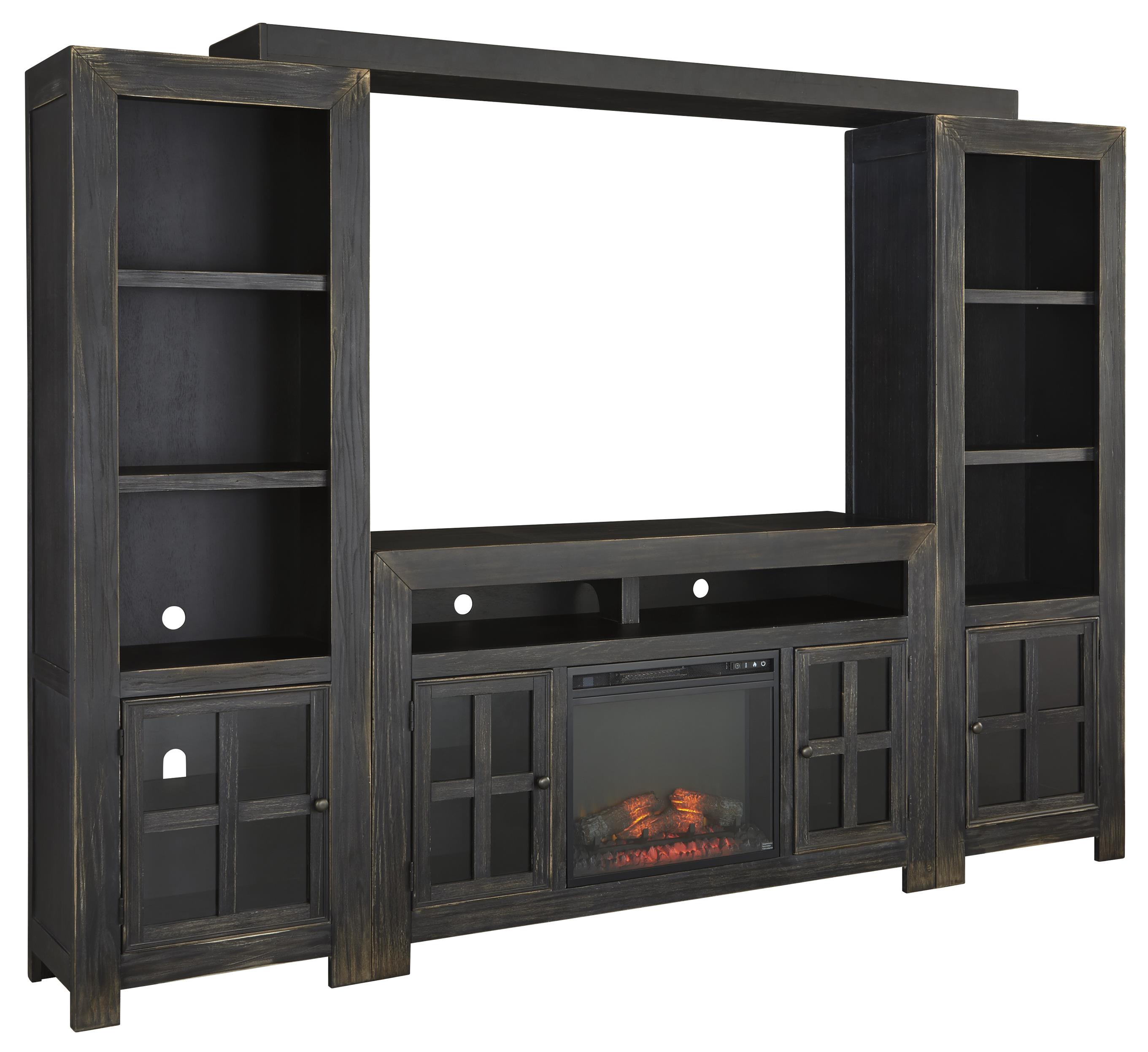 Entertainment Wall Unit W Large TV Stand Fireplace