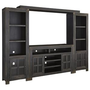 Entertainment Wall Unit w/ Large TV Stand, Bridge, and Piers
