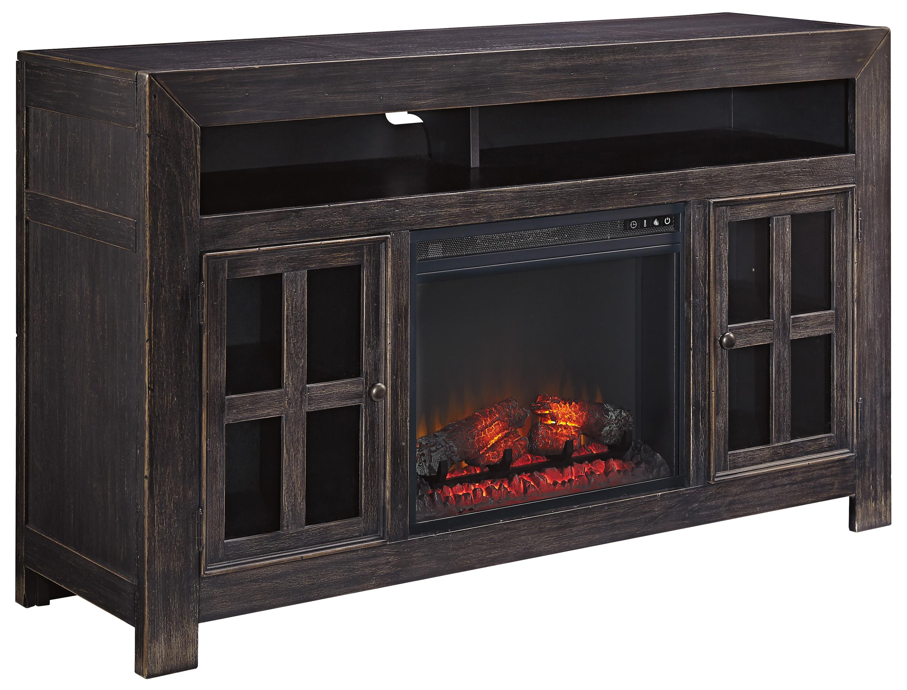 distressed black large tv stand with electric fireplace unit by